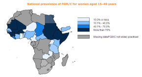 National prevalence of FGM/C for women aged 15–49 years